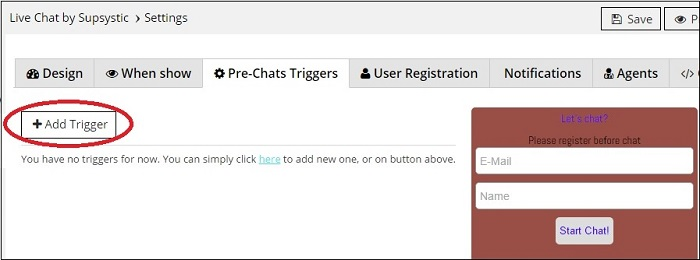 Pre-Chat Triggers tab in WordPress Live Chat