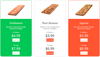Pizza Price Table