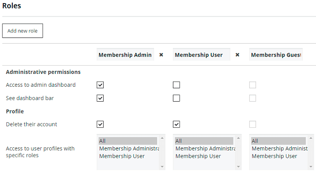 Membership Roles Settings