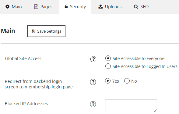 Membership Security Tab