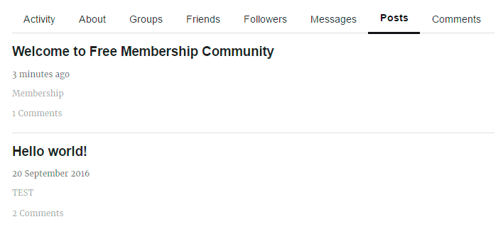 Posts tab of membership profile