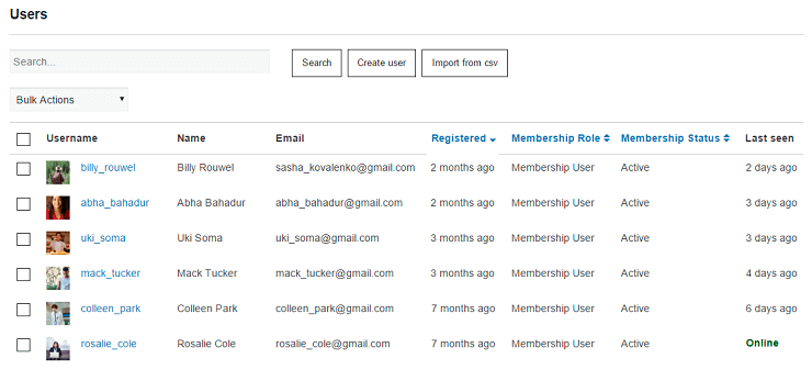 Users Tab of Membership Plugin