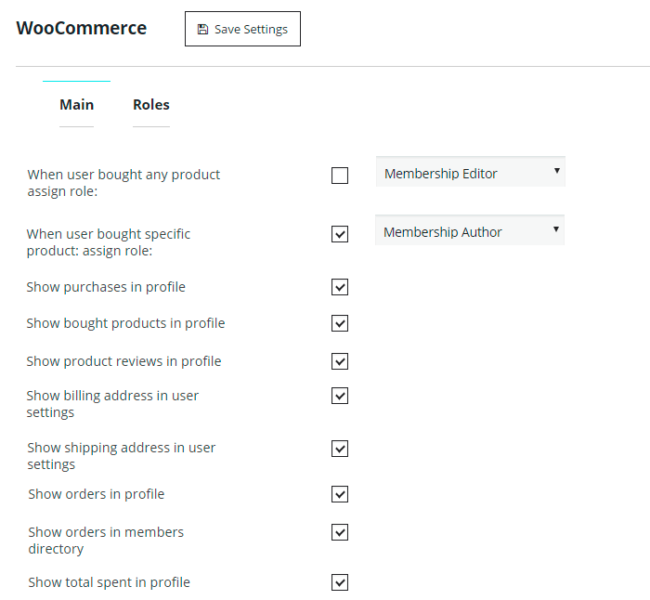 WooCommerce Extension Main Settings