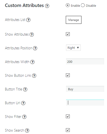 Attributes List settings