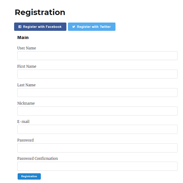 Registration Page with Social Login Extension